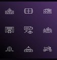 public skyline icons line style set with castle vector image