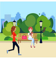 public urban park woman outdoors running sitting vector image vector image