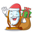 santa with gift big dressing mirror isolated on vector image
