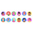 set mix race children avatars little kids faces vector image vector image