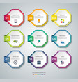 set of 9 octagon elements for infographics vector image