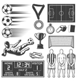 Soccer Monochrome Elements Set vector image vector image