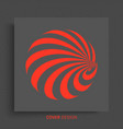 sphere with lines black and red design pattern vector image vector image