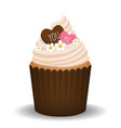 valentine cupcake with two hearts vector image