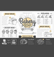 vintage bakery menu design restaurant menu vector image vector image