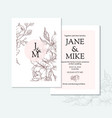 vintage elegant wedding invitation card template vector image