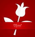 White paper Tulip on red background vector image