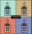 windows in different colors vector image vector image