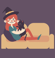 Witch on Sofa with Cat vector image vector image