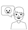 young man happy with emoticon message avatar vector image vector image