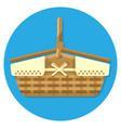 wooden basket for summer picnics vector image