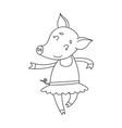 cheerful pig ballerinae cartoon happy vector image