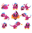 collection of cartoon baby dragon for game design vector image