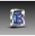 3d square box with a bitcoin symbol vector image vector image