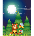 A bear near the pine trees with Santa bees vector image