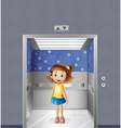 A pretty young girl inside the elevator vector image vector image
