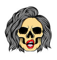 art work girl skull with hole eyes vector image vector image