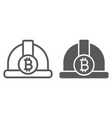 bitcoin miner hat line and glyph icon finance vector image vector image