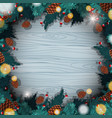 border template with christmas pinecones vector image