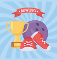 bowling ball shoes and trophy game recreational vector image