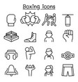 boxing icon set in thin line style vector image vector image