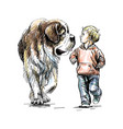 boy is walking with a big dog on a white vector image