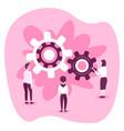 businesspeople looking cog wheel process business vector image vector image