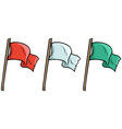 cartoon colored waved flags on wooden stick vector image