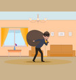 cartoon man thief stealing an apartment vector image