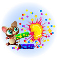 cartoon sweet little kitty with bright vector image vector image