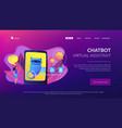 chatbot virtual assistant via messagingconcept vector image