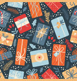 christmas seamless pattern on dark background vector image vector image