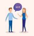 couple with speech bubbles vector image vector image