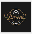 croissant logo round linear croissant cafe vector image