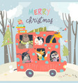 cute animals traveling bus vector image vector image