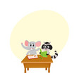 cute elephant and raccoon student characters vector image vector image
