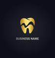 dental tooth gold logo vector image vector image