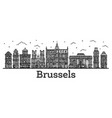 engraved brussels belgium city skyline with vector image vector image