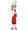 female chef holding tray vector image