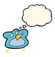 funny cartoon robin with thought bubble vector image vector image