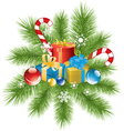fur tree branch xmas decoration and gifts vector image