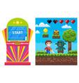 gambling machine pixel game heroes war vector image vector image