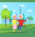 grandparents sit on bench in city park at vector image vector image