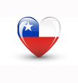 Heart-shaped icon with national flag of Chile vector image