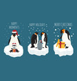 imperial penguin on the ice floe sticker icon set vector image