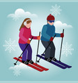 isometric man and woman skiing olympic games vector image