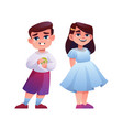 kindergarten age children isolated girl and boy vector image
