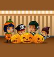 little kids wearing halloween costumes vector image