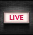 live light broadcast sign tv radio studio vector image vector image