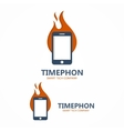 Logo combination of a fire with phone vector image